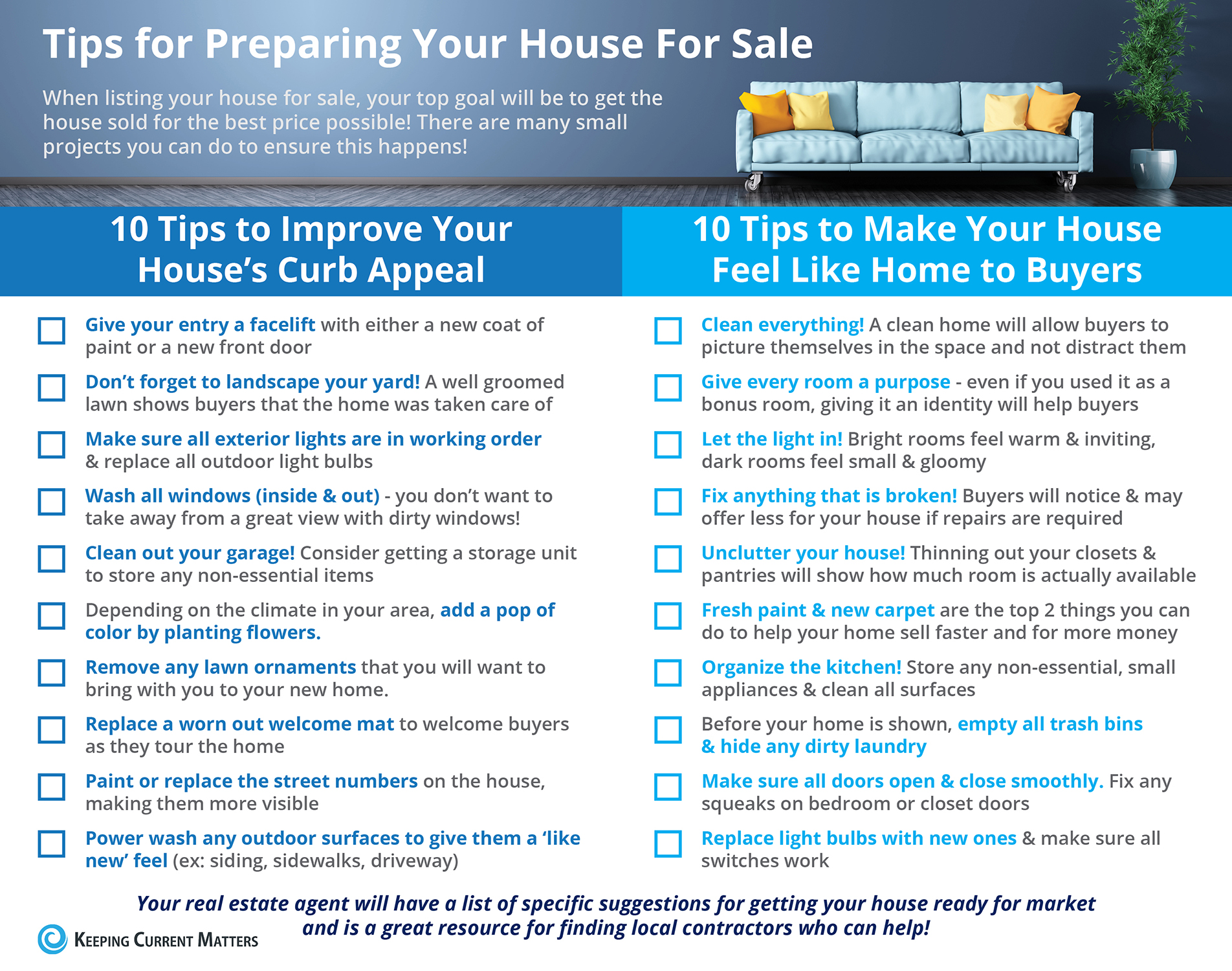 Tips For Preparing Your House For Sale [infographic]  Keeping Current  Matters