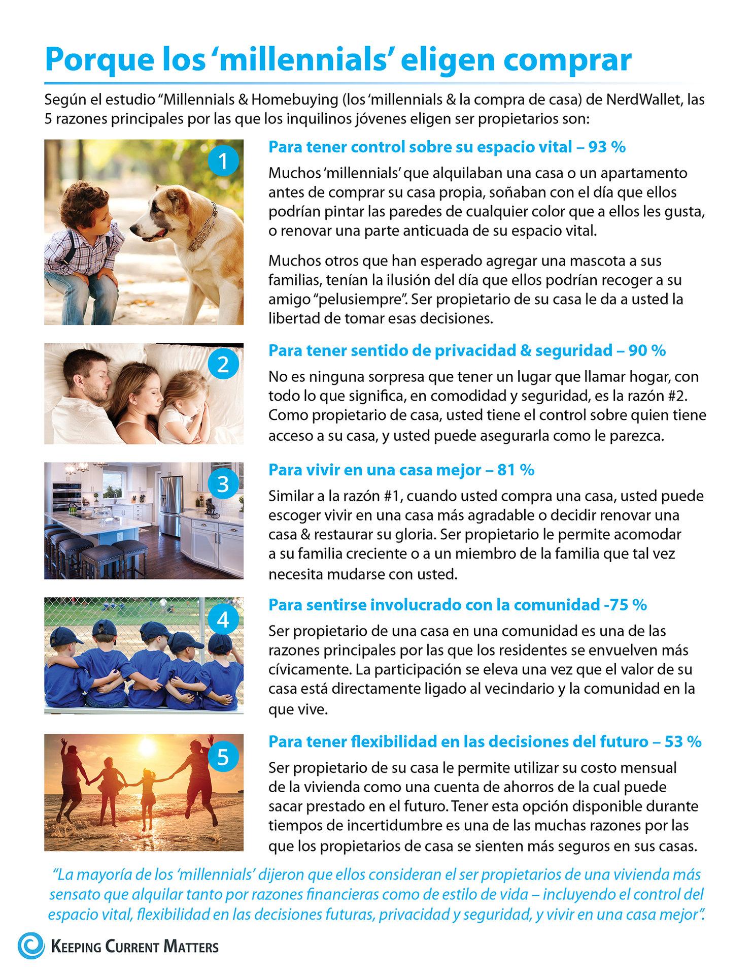 5 razones principales por las que los 'millennials' eligen comprar [infografía] | Keeping Current Matters
